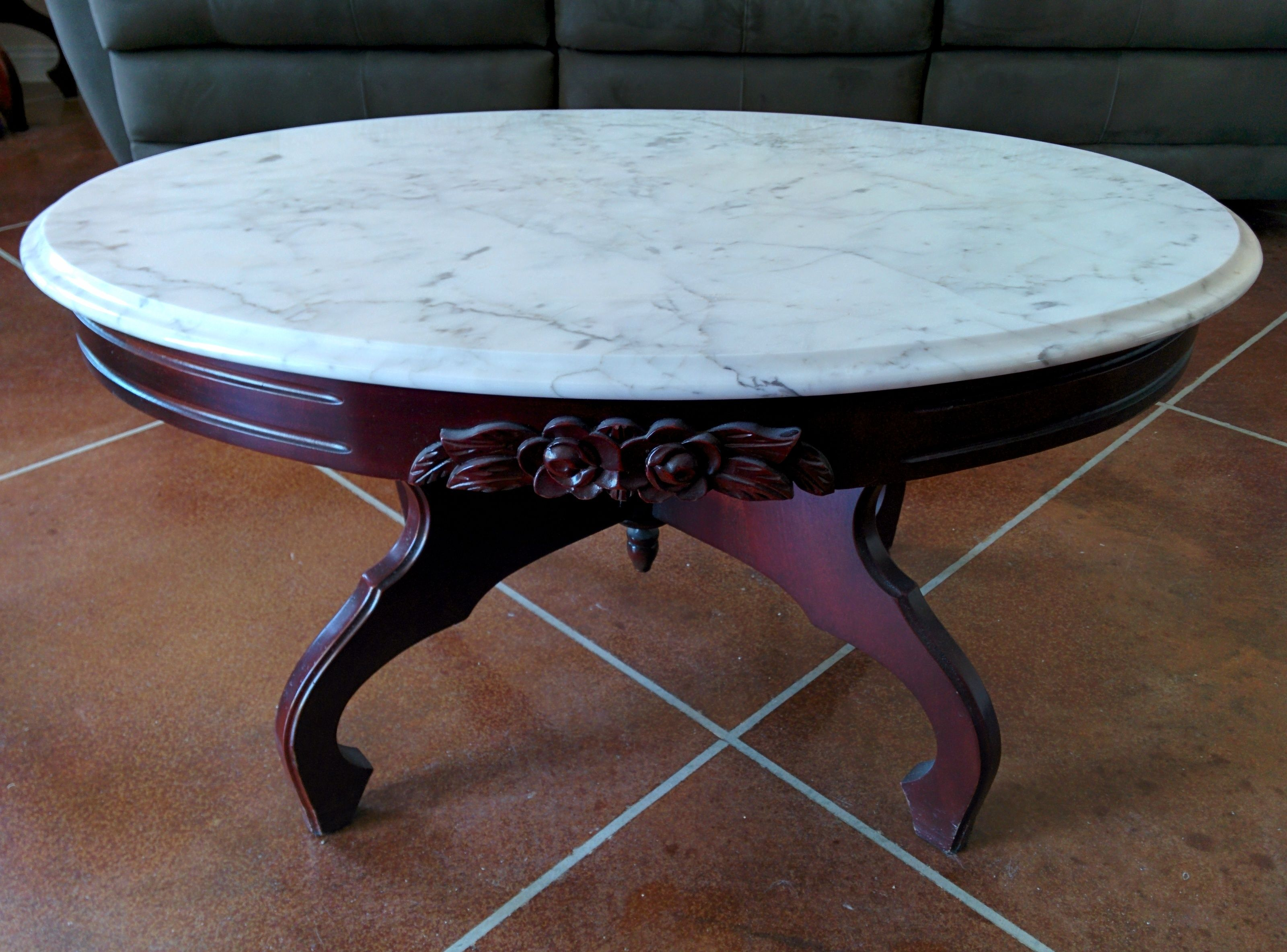 Antique Round Marble Top End Table