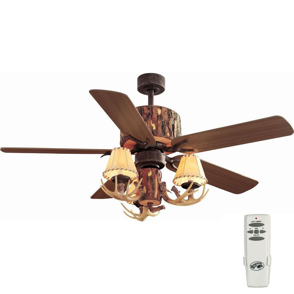 Hampton Bay Lodge 52 In Indoor Nutmeg Ceiling Fan With Light Kit And Remote Control Yg098 Nm The Home Depot In 2021 Rustic Ceiling Fan Ceiling Fan Ceiling Fan With Light