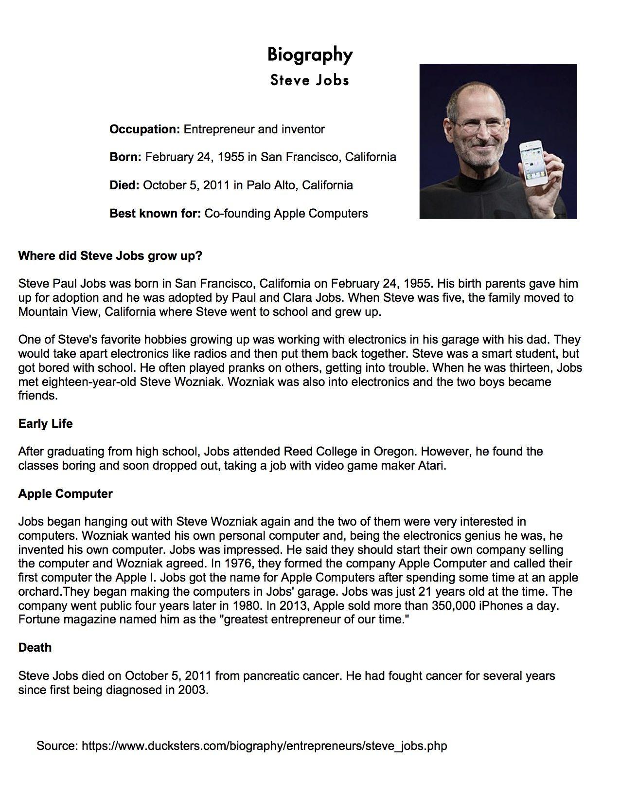 Esl Eal English Steve Jobs Biography Technology Apple