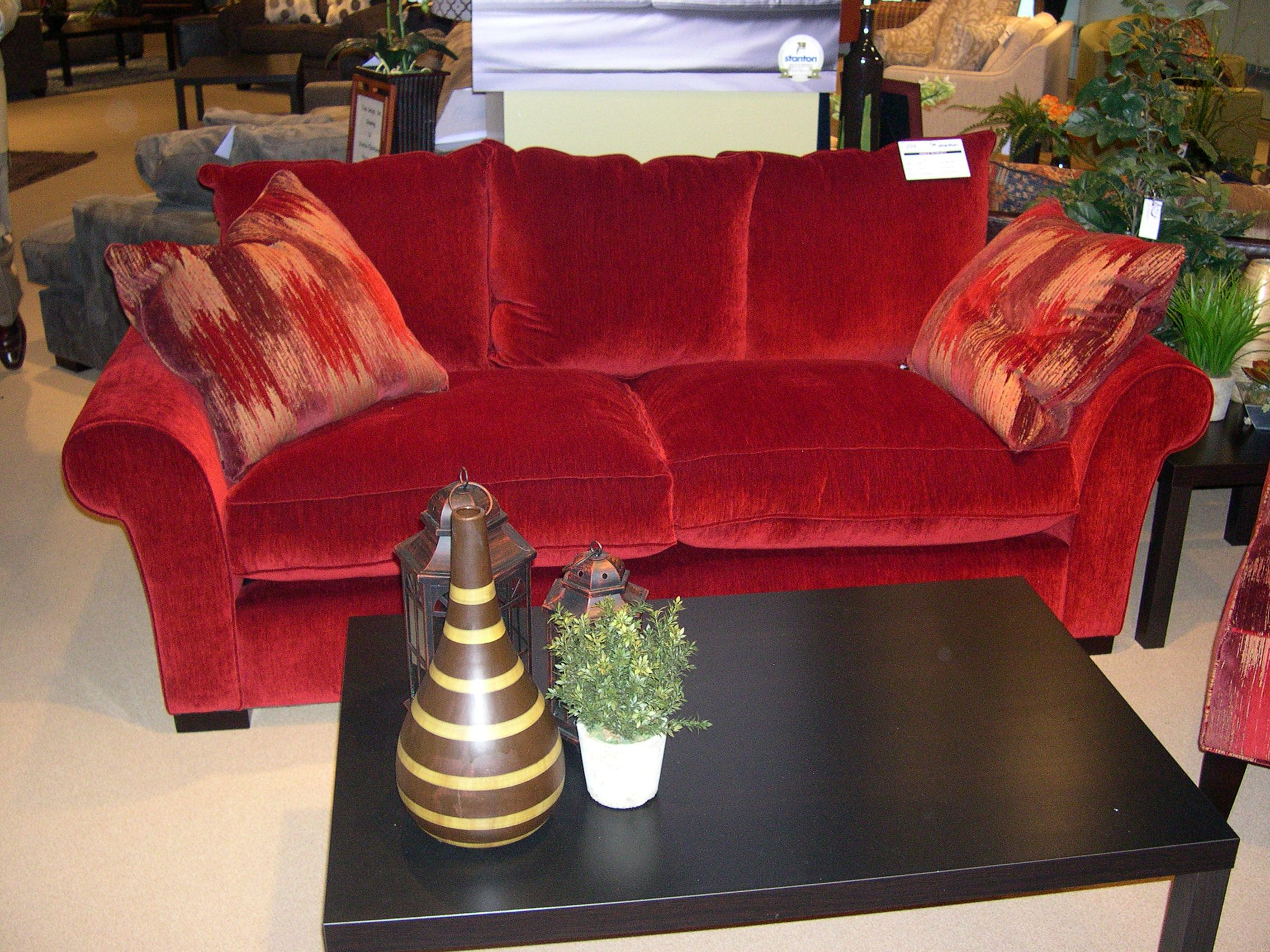 Stanton Showroom - A classic sofa in red.