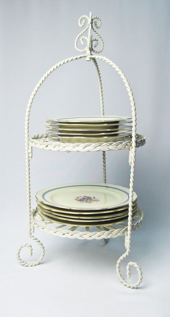 Two Tier Metal Plate Stand Hand Painted in by OlliesFineThings & Two Tier Metal Plate Stand Hand Painted in by OlliesFineThings ...