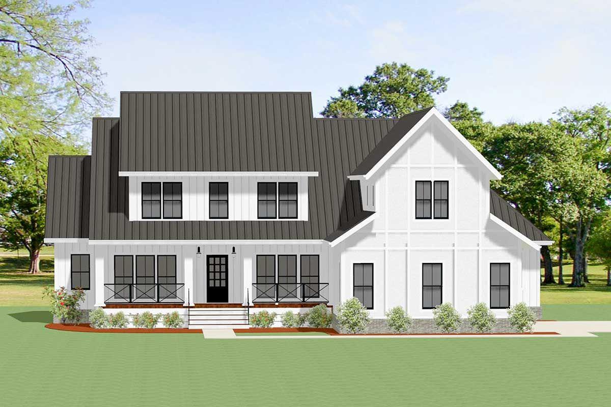 Plan 46365la Gorgeous 4 Bed Modern Farmhouse Plan With Loft In 2020 Modern Farmhouse Plans House Plans Farmhouse House Plan With Loft