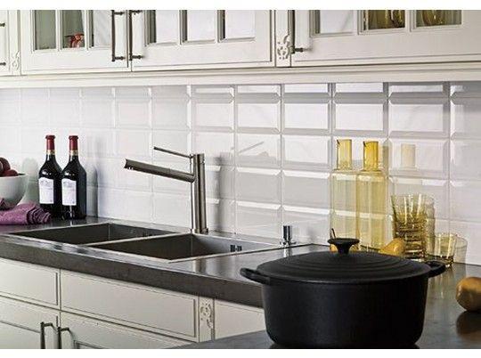 Azulejo biselado de dise o 10x20 cm http amadosalvador for Azulejos cocina blanco brillo