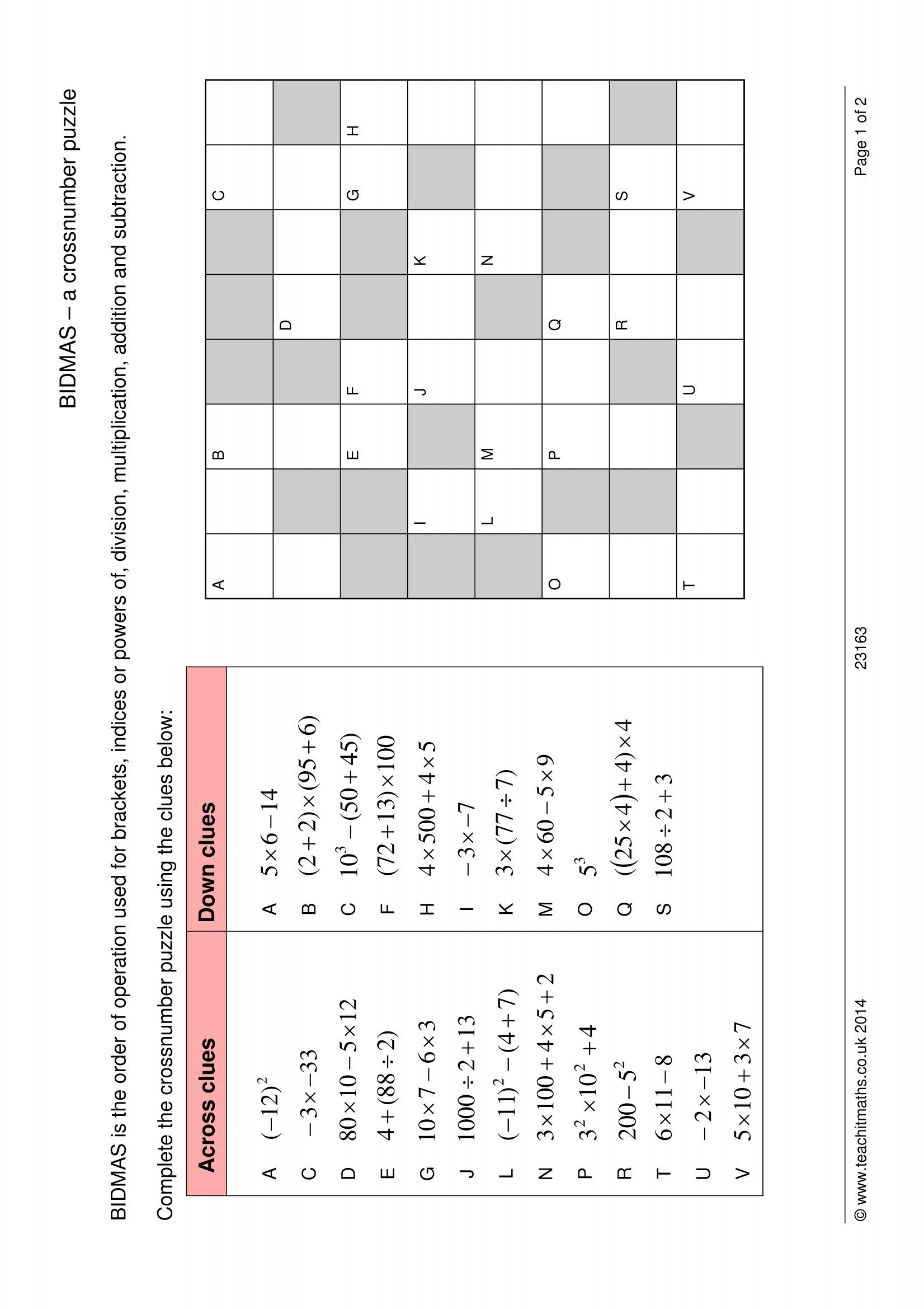 hight resolution of BIDMAS – a crossnumber puzzle   Order of operations