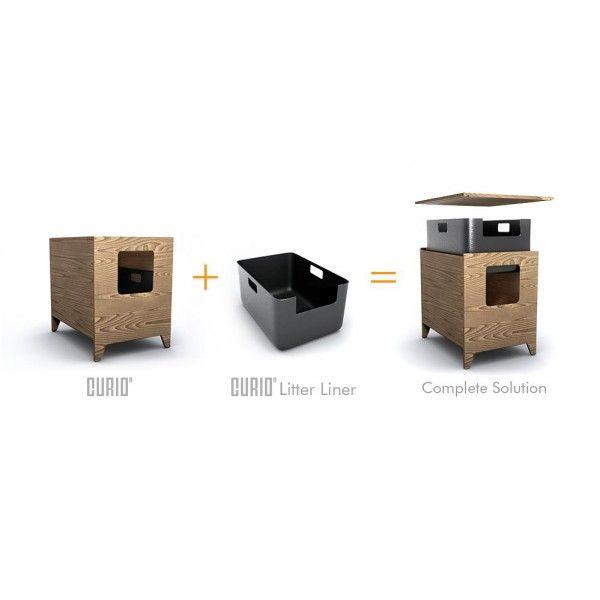 Modern Cat House curio modern cat litter box or pet house - walnut + pattern