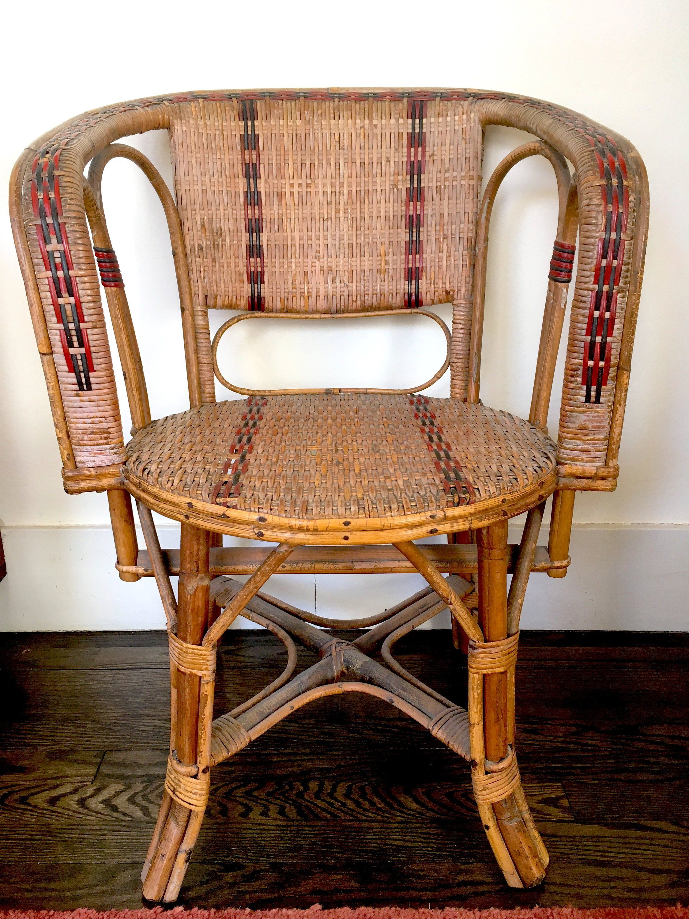 French Bistro Cafe Chairs 1920s Woven Rattan Bamboo French Country Cottage Chic Cafe Chairs Chair