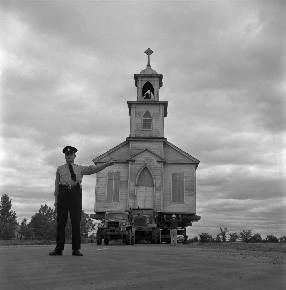 Moving Moulinette Church. Near Cornwall, Ontario, August