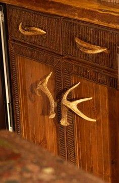 Beautiful Detail With Antler Hardware Adirondack Style