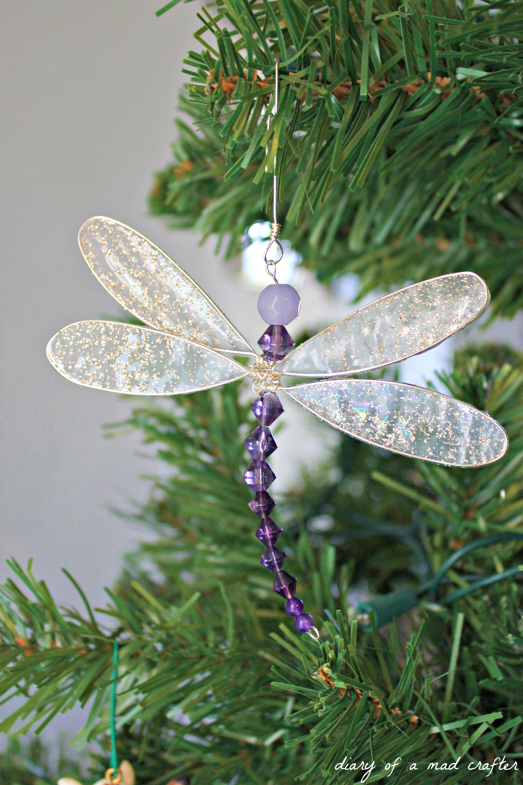 Diy Dragonfly Charm Dragonfly Ornament Christmas Crafts Beaded Christmas Ornaments