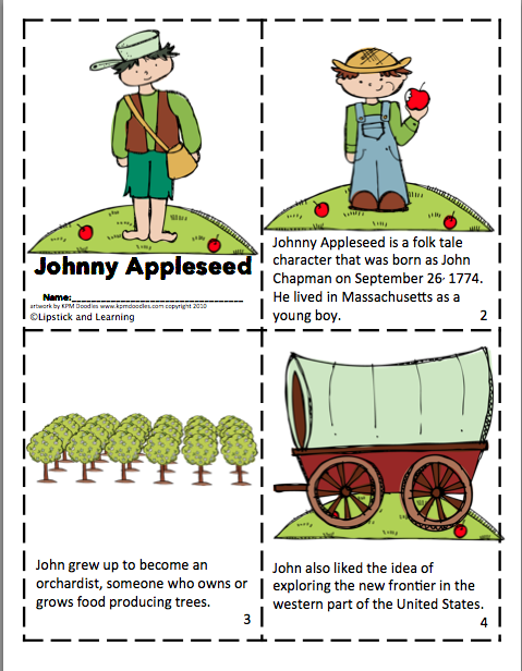 photograph relating to Johnny Appleseed Printable Story named Johnny Appleseed Mini E-book Apple Device Review Johnny