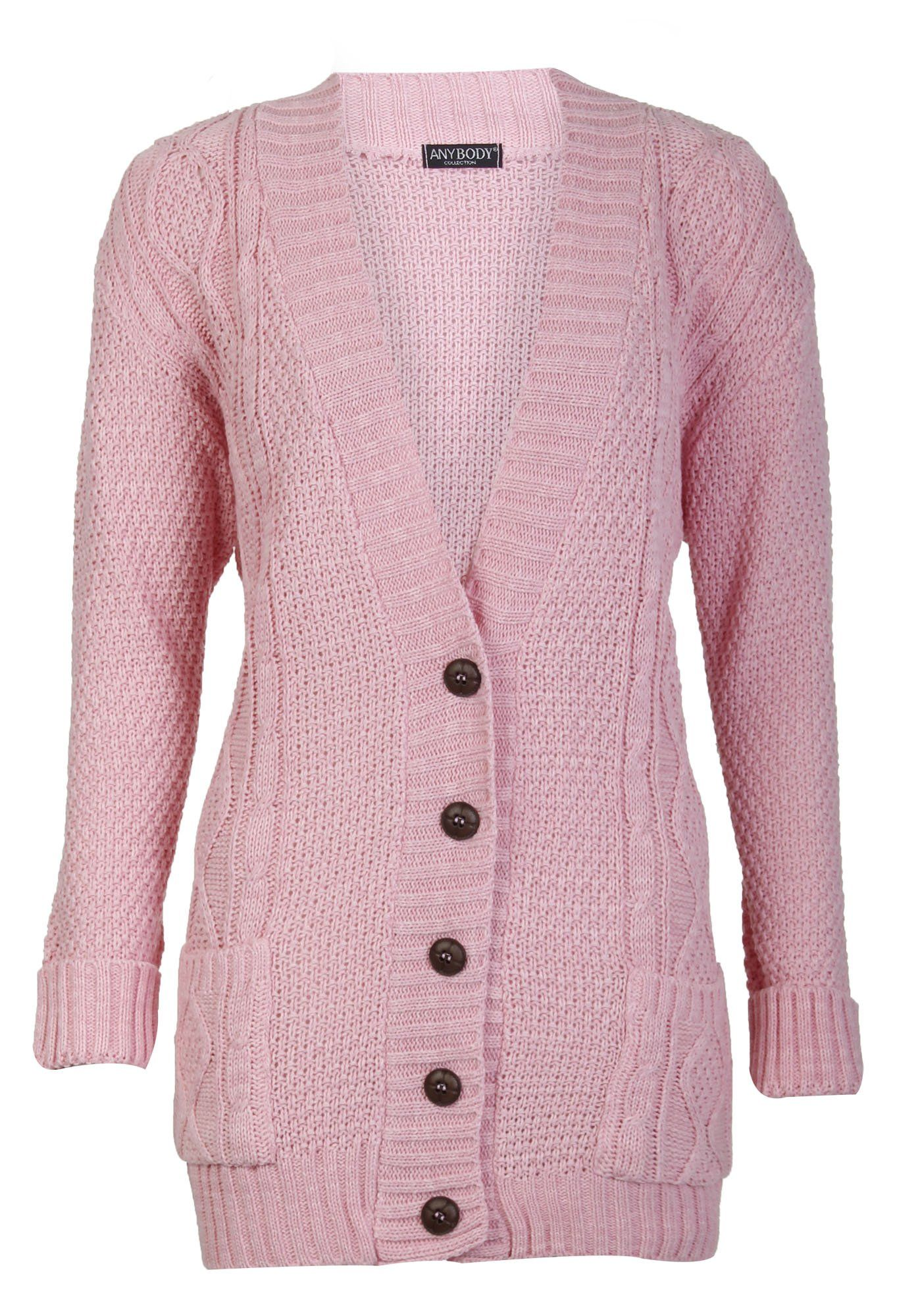 Aislinn Womens Cable Knitted Grandad Button Cardigan One Size (UK ...