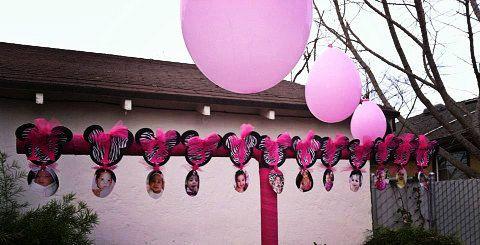 Zebra Minnie Mouse First Year Banner Pink Zebra Flower Banner