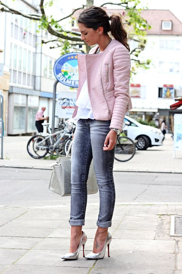 pastel grey outfit | Metallic pumps, Gray jeans and Pink leather