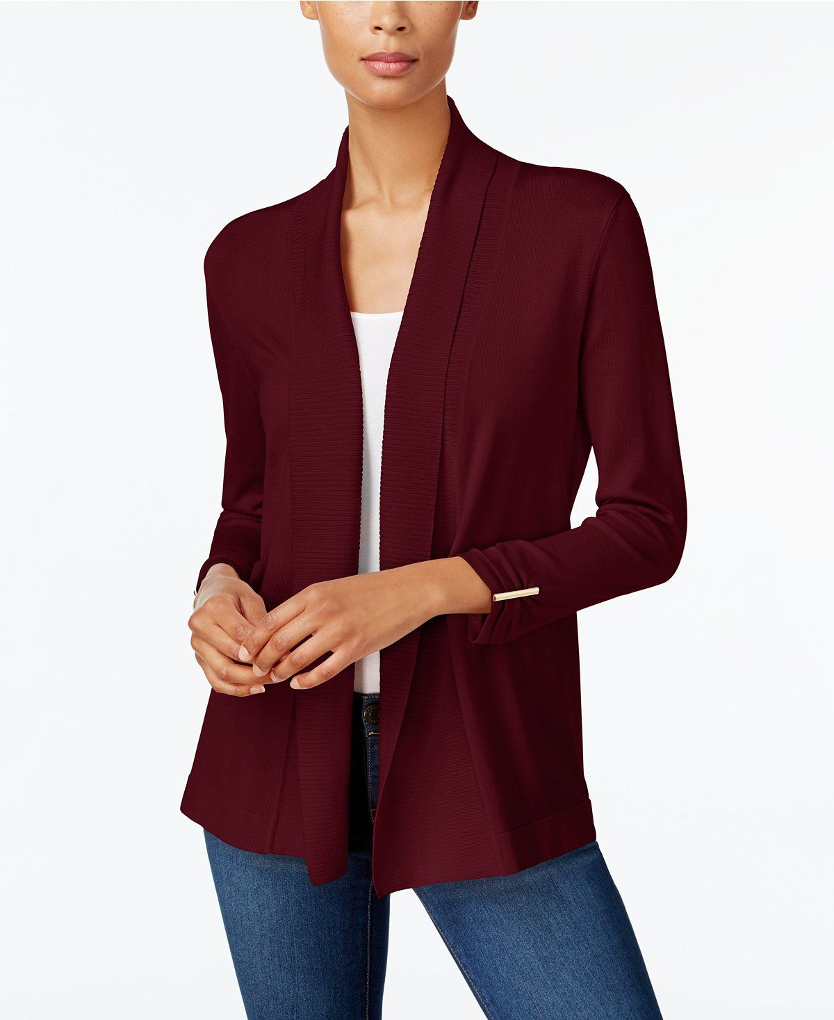 JM Collection Ribbed Open-Front Cardigan, Created for Macy