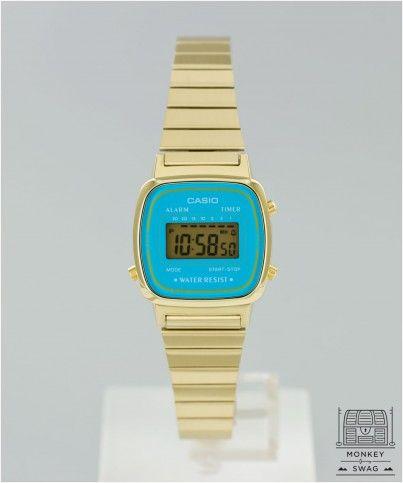 82e2bd985607 CASIO LADIES MINI DIGITAL WATCH (GOLD   BLUE FACE)