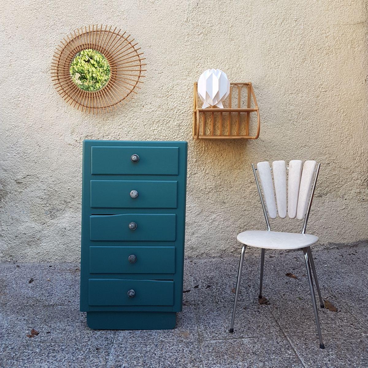 Chiffonnier En Bois Vintage Vert Emeraude Luckyfind Fr Chiffonnier Mobilier De Salon Meuble Vintage