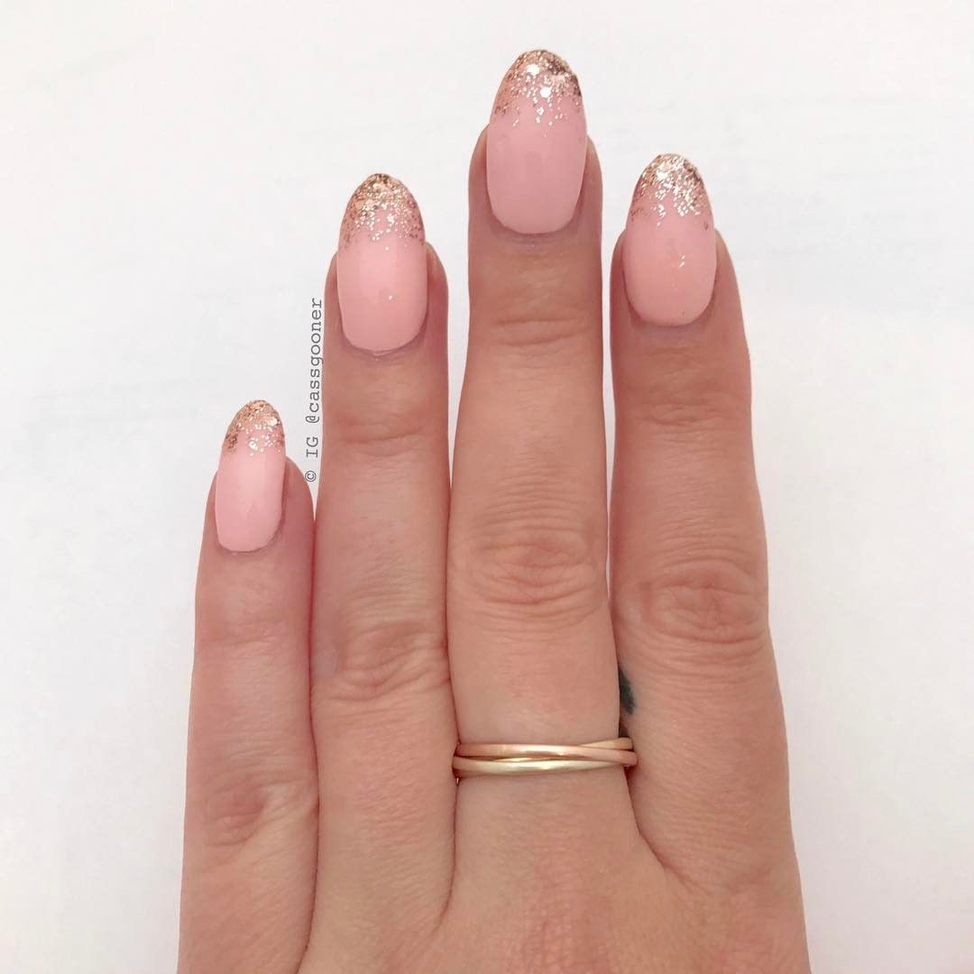 pink nails w/ ombre rose gold glitter french tips - Cassie ...