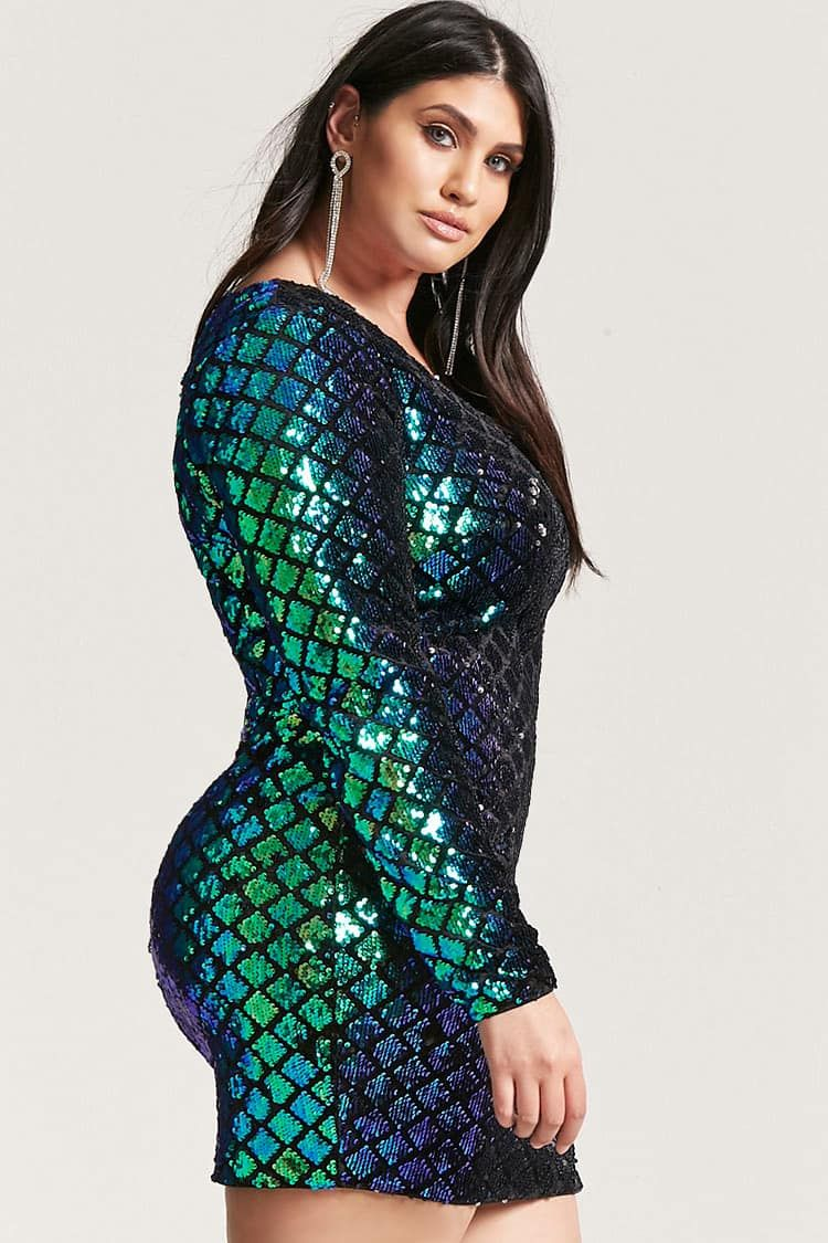 603452d7a3 Product Name Plus Size Cutout Sequin Mini Dress