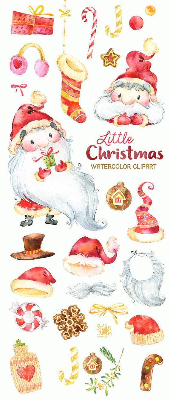 Little Christmas Watercolor Clipart Santa Claus Winter Cute