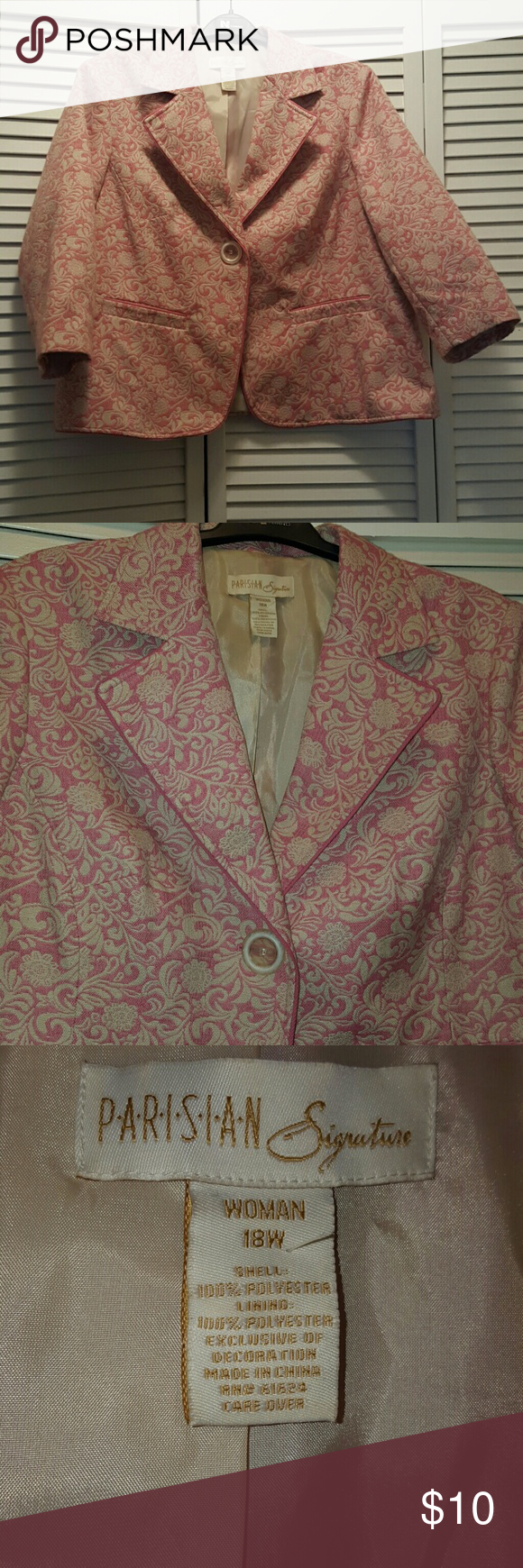 Parisian Pattern Blazer Jacket Parisian Pink and Cream Pattern Jacket/Blazer. Size 18W. *worn* parisian  Jackets & Coats
