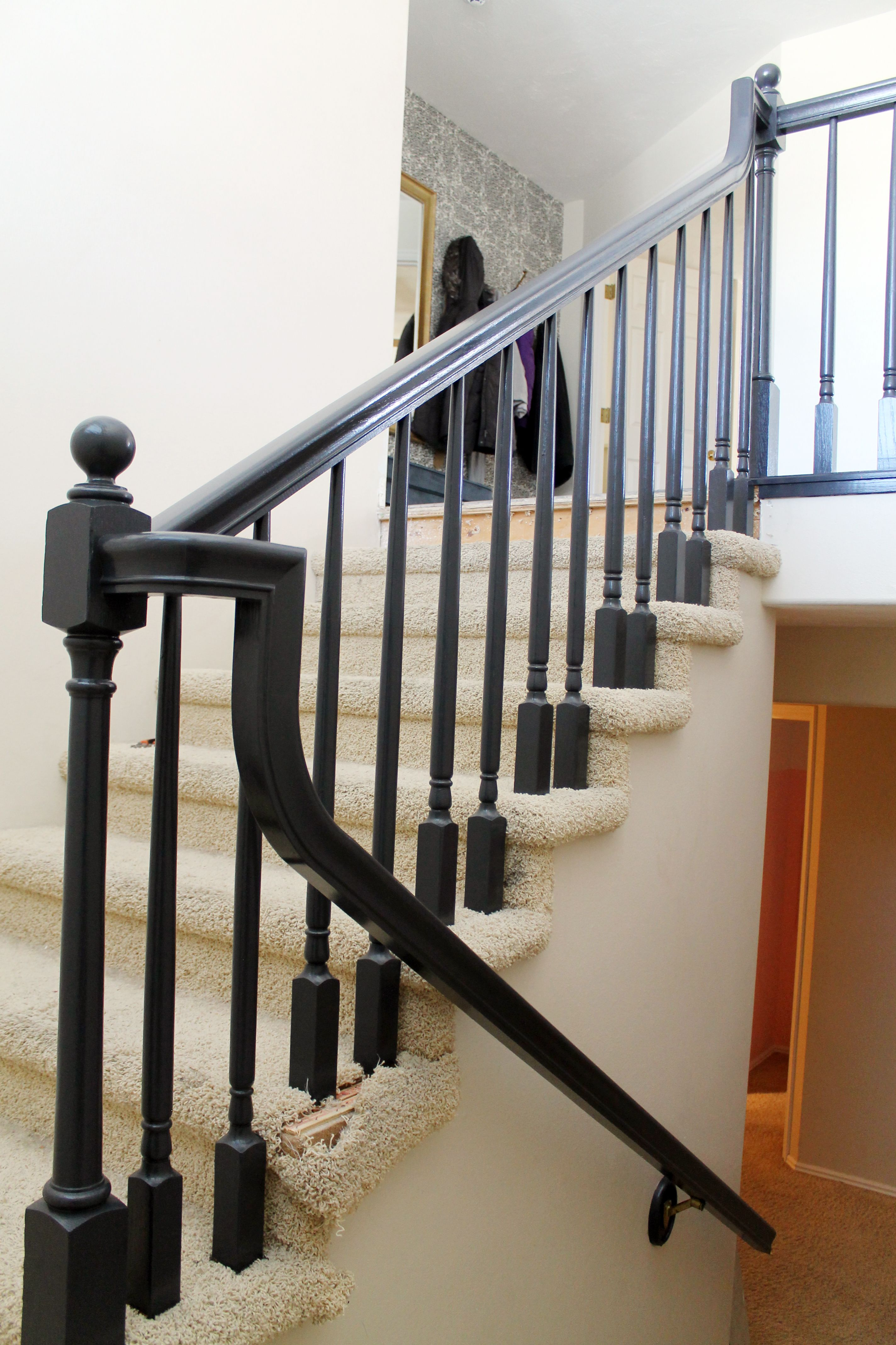The Banister is Painted! (With images) | Banister remodel ...