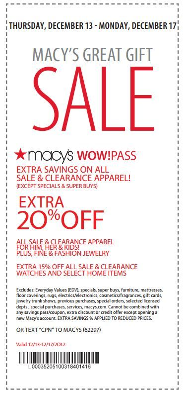 Macy 39 s coupon extra 20 off all sale clearance for Macy s jewelry clearance