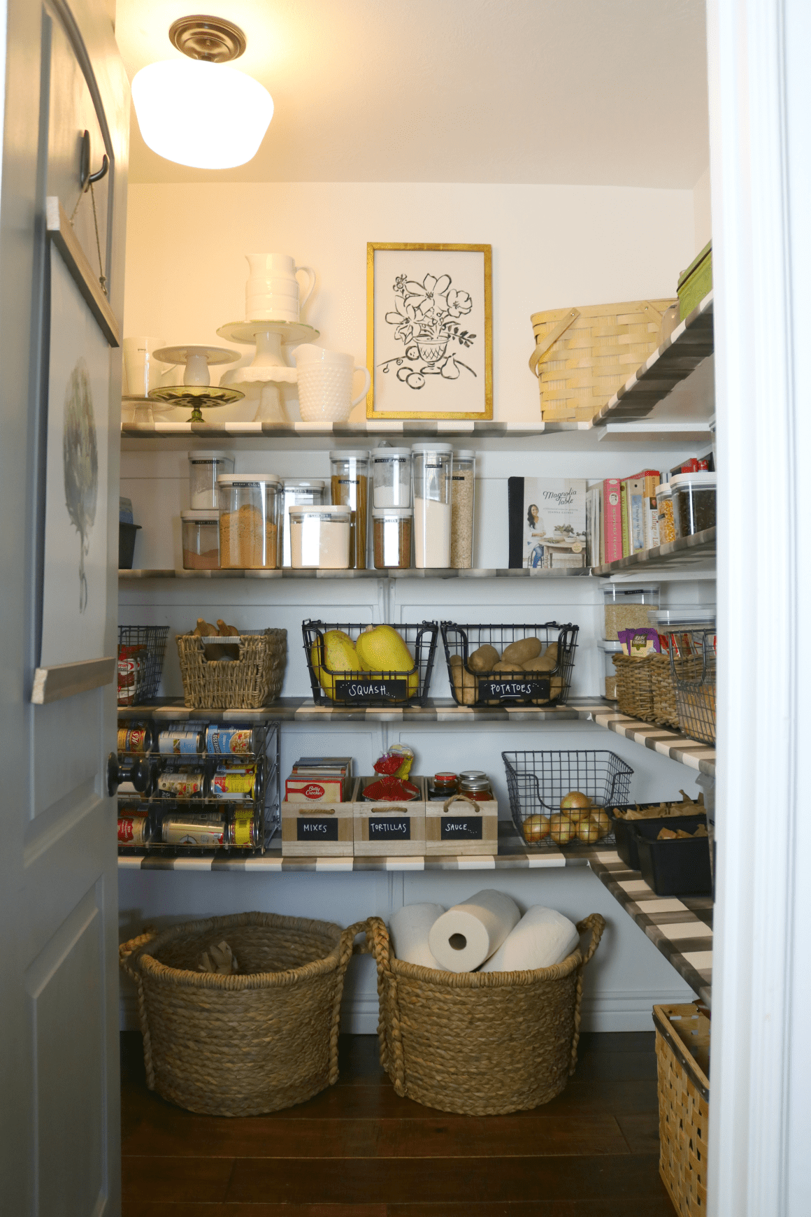 Pantry Makeover with Wallpaper Shelves #pantryshelving