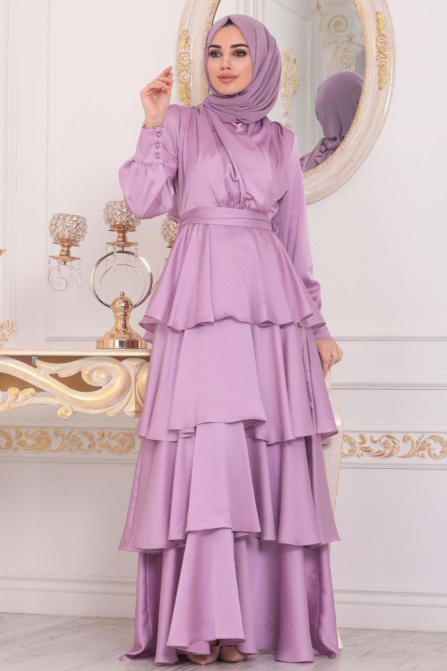 Tesetturlu Abiye Elbise Firfirli Krep Saten Lila Tesettur Abiye Elbise 22701lila Tesetturisland Com 2020 Mutevazi Moda Moda Stilleri Elbise