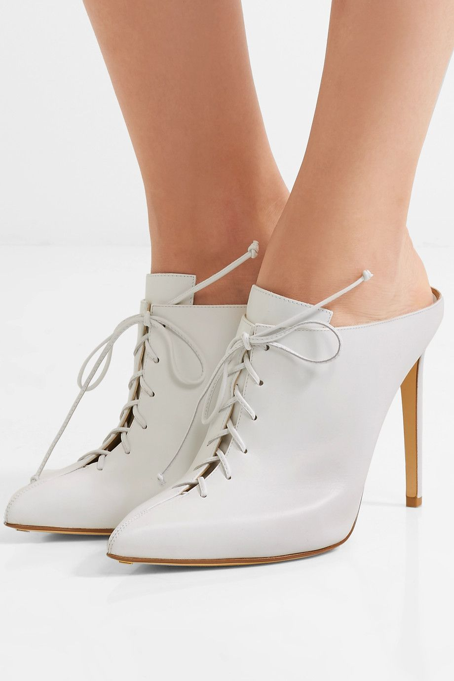 Francesco Russo Leather lace-up mules Bn8cjgpwVb