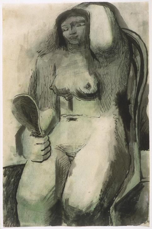Henry Moore - Seated Nude with Mirror - Graphite, charcoal, watercolour wash, pen and brush and ink on paper