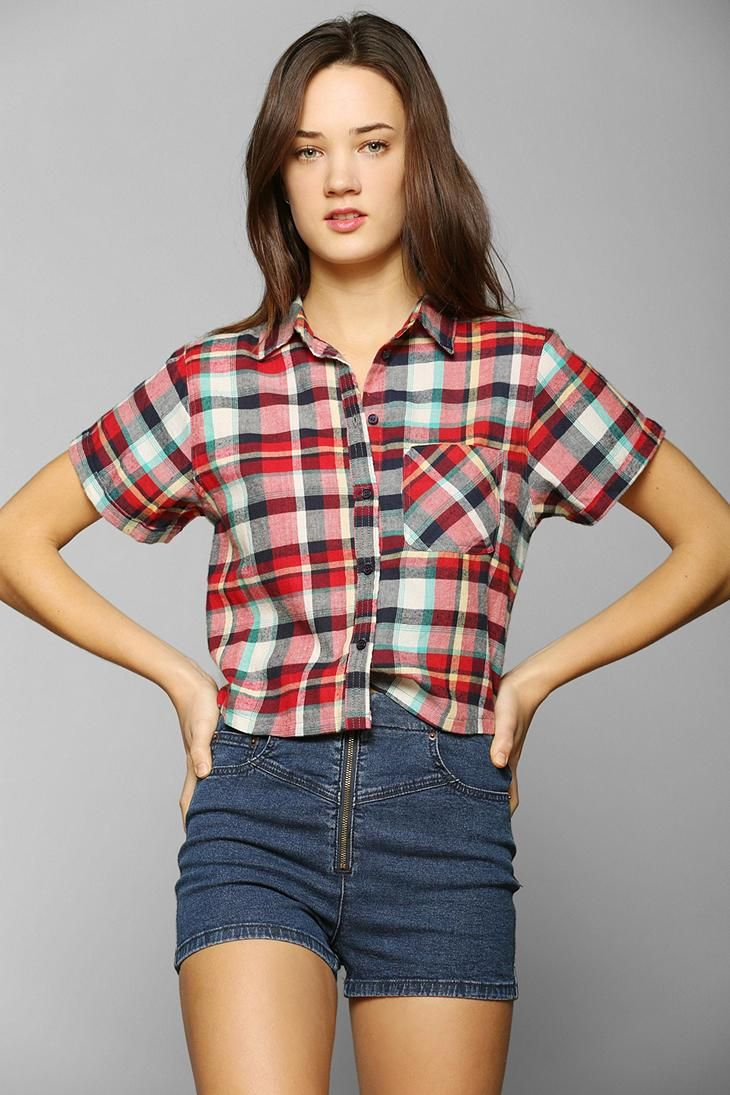 Yellow flannel outfits  Margot Cropped Flannel ButtonDown Shirt urbanoutfitters  You