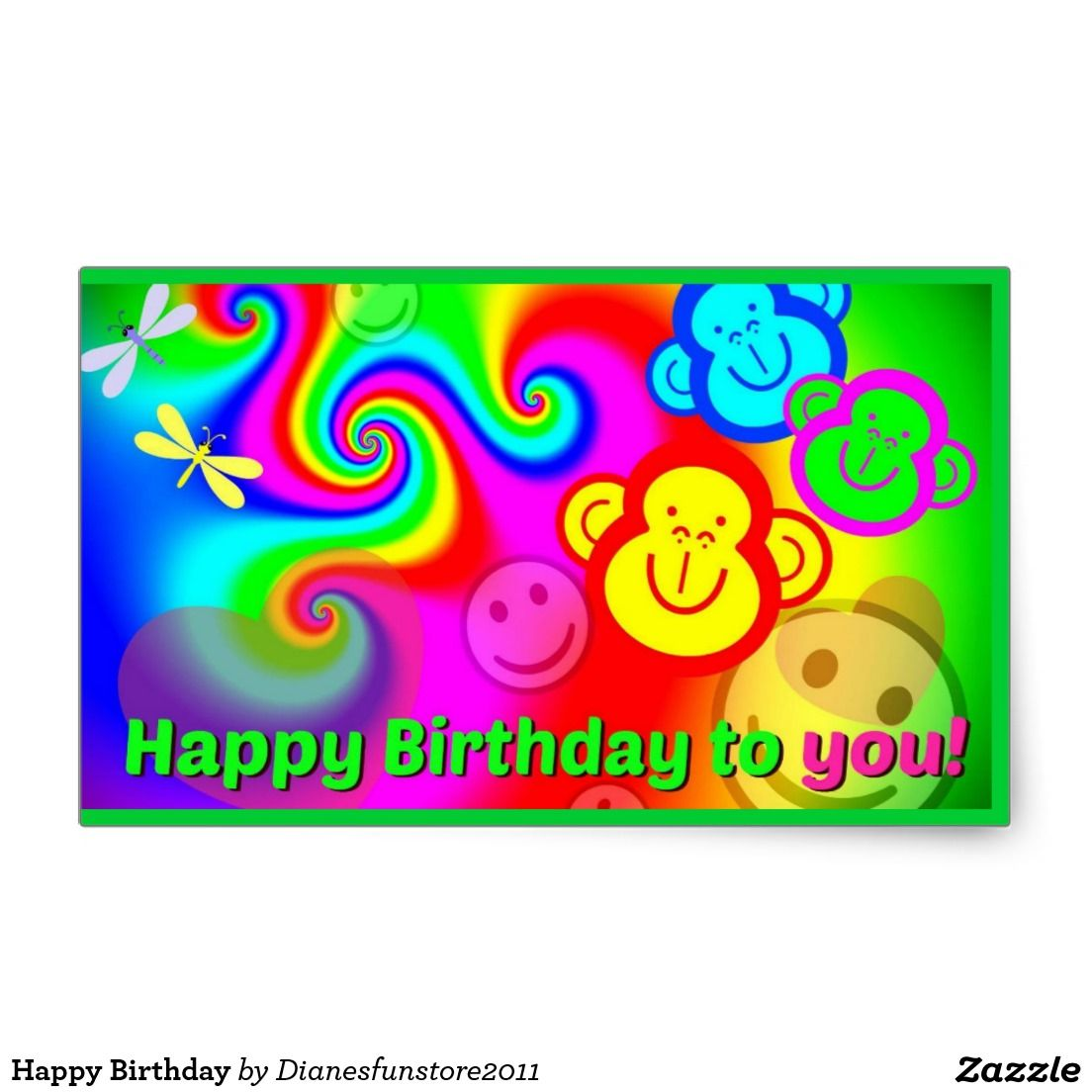 Happy birthday rectangular sticker