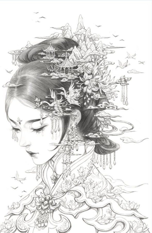 Long Handling Timeflorescence By Gu Ge Li Find Color Etsy Japanese Tattoo Art Geisha Art Japanese Drawings