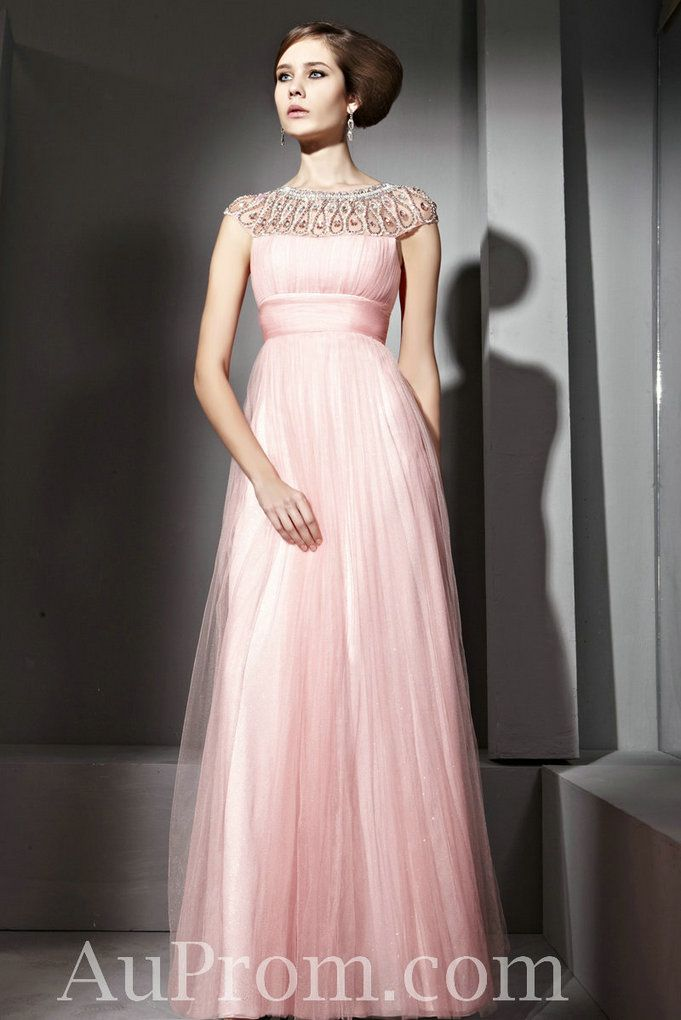 Tulle High Neck Pink Beading Cheap Best Prom Dress Stores Online