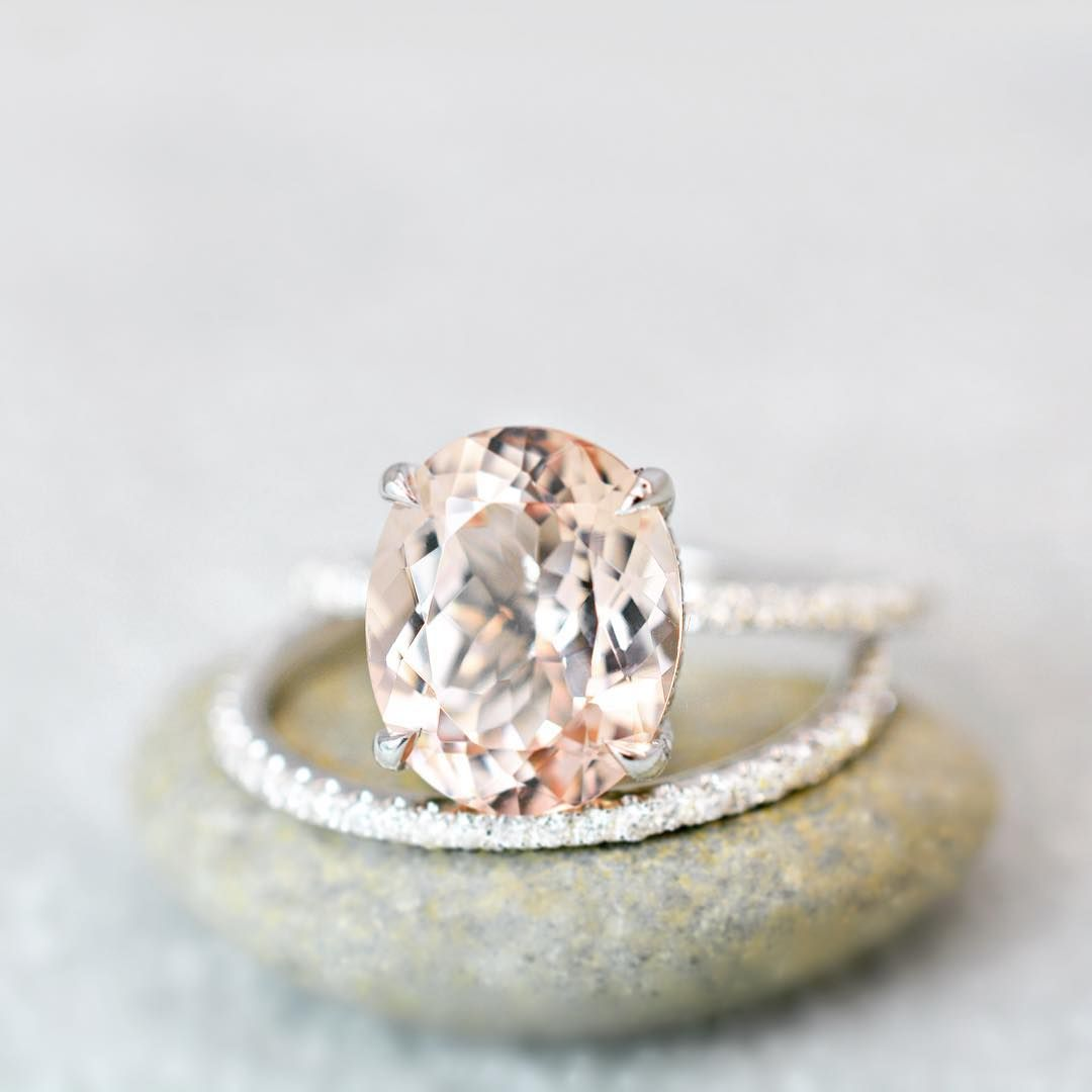 Oval Morganite On White Gold Engagement Ring Engagement Rings In