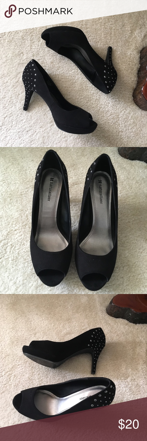 Naturalizer Studded Open Toe Heels Naturalizer Studded Open Toe Heels Worn a few times, still is great condition  Size 8 Naturalizer Shoes Heels