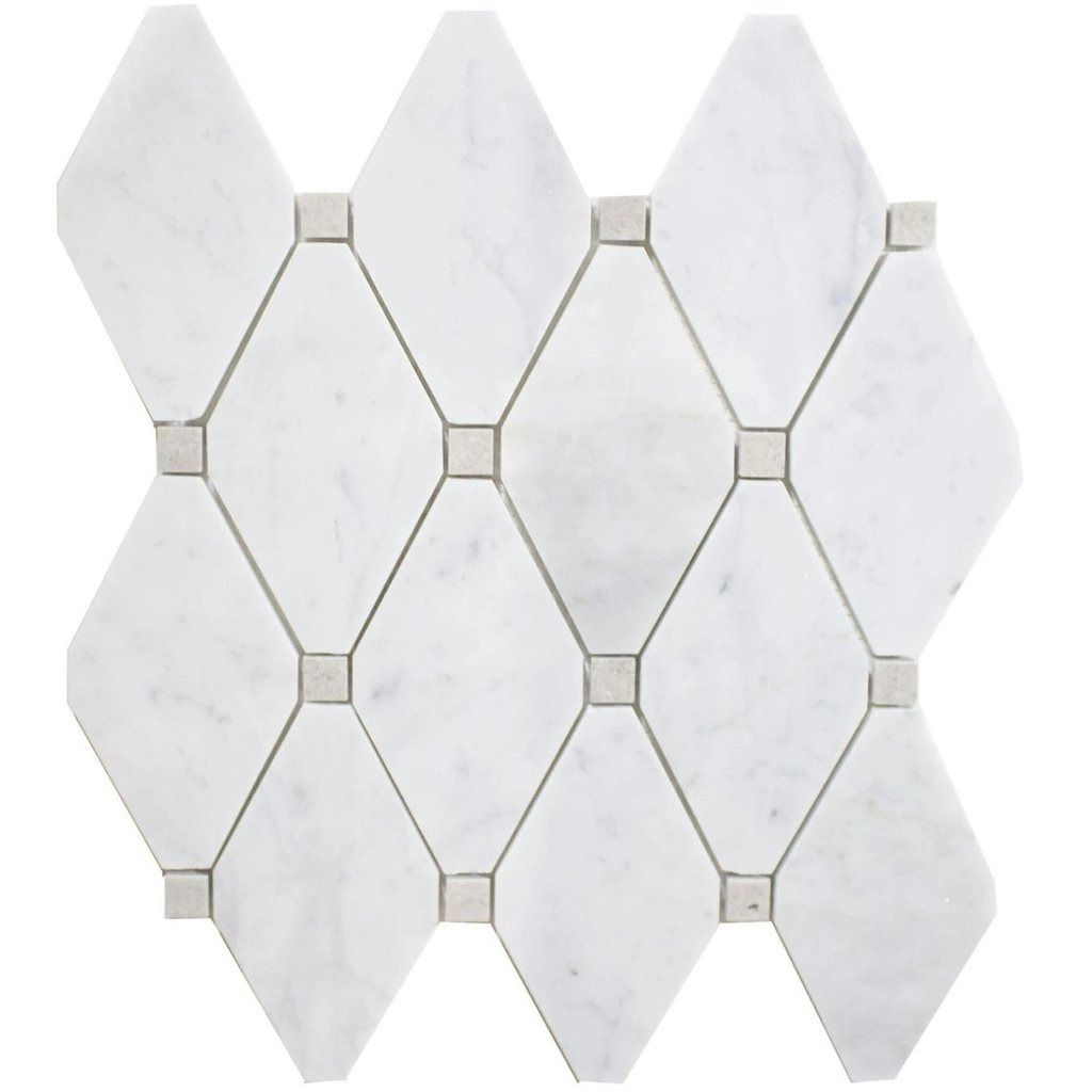 Carrara White And Cinderella Grey Marble Mosaic Tile In White Diamonds Polished In 2020 Marble Mosaic Tiles White Marble Mosaic Marble Mosaic