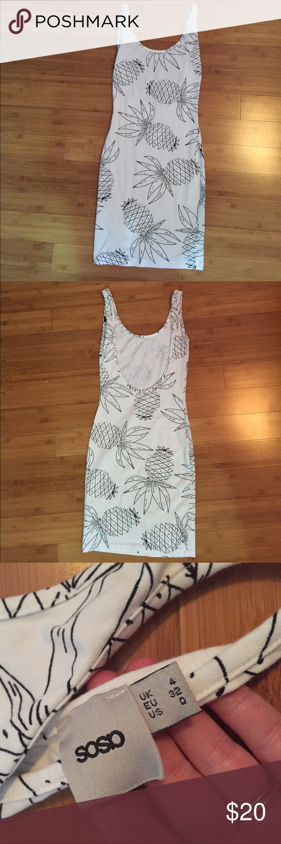 "ASOS Pineapple Bodycon Dress Adorable pineapple print dress with scoop back. I'm 5'1"" and it hits mid thigh (not too short) has minor stain (pictured). TTS (XS,0) Very flattering and perfect with bright accessories! I am accepting reasonable offers, no trades. ASOS Dresses Mini"