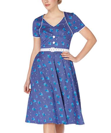 Look what I found on #zulily! Blue Floral Belted Fit & Flare Dress #zulilyfinds