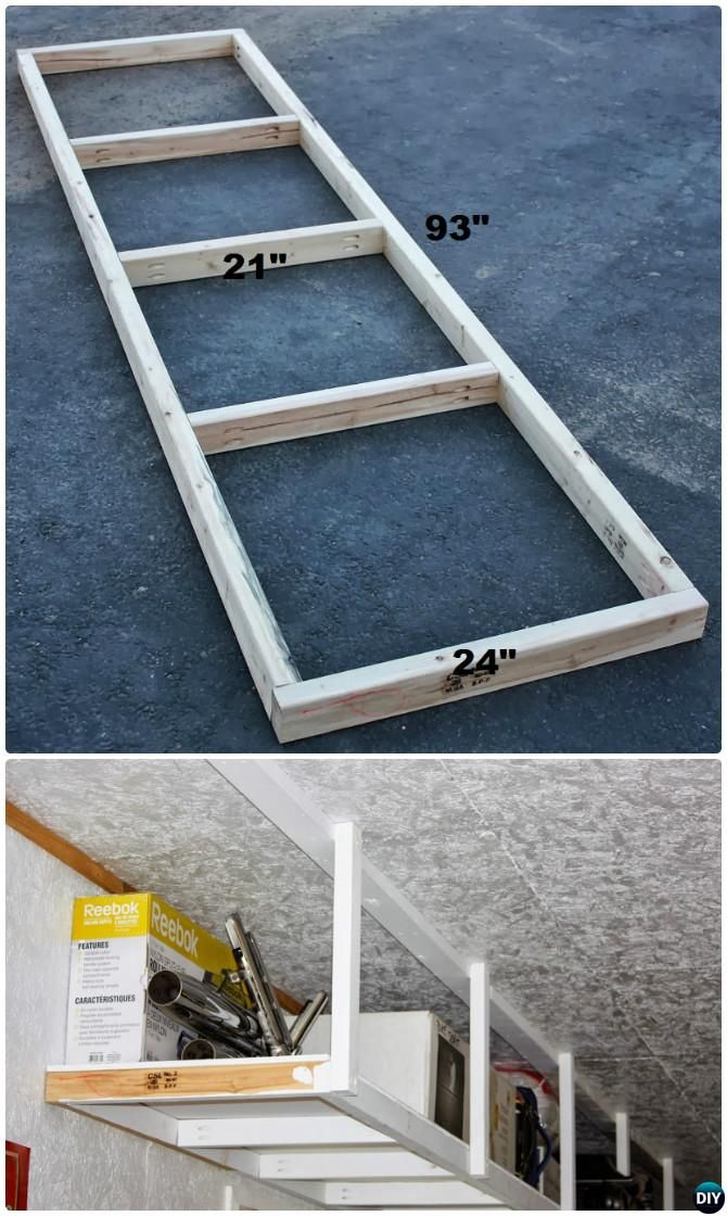 Diy Overhead Garage Shelf Garage Organization And Storage Diy