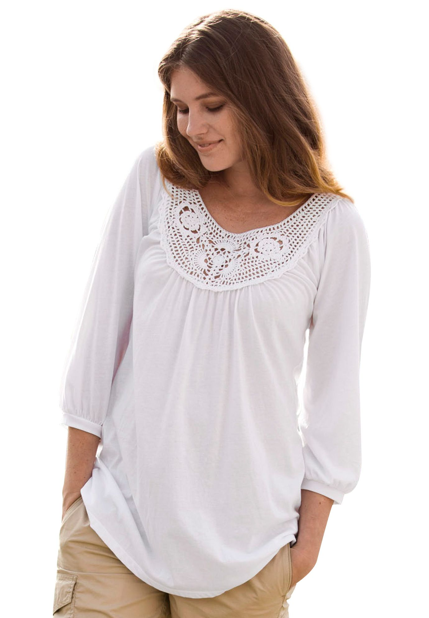 Tunic Top Open Crochet By Ellos 174 Plus Size Tunics