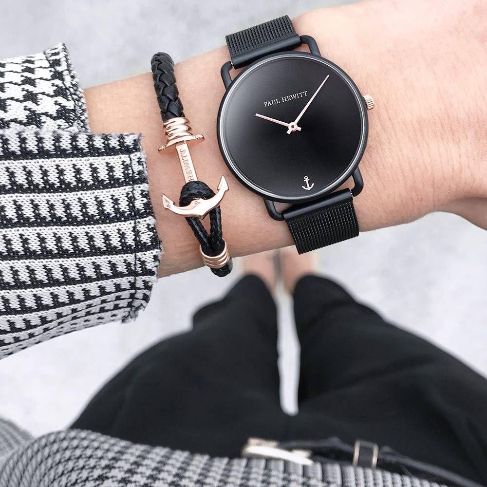 Uhr Miss Ocean Black Sunray Schwarz Mesh Modische Armbanduhren Damenuhr Uhr