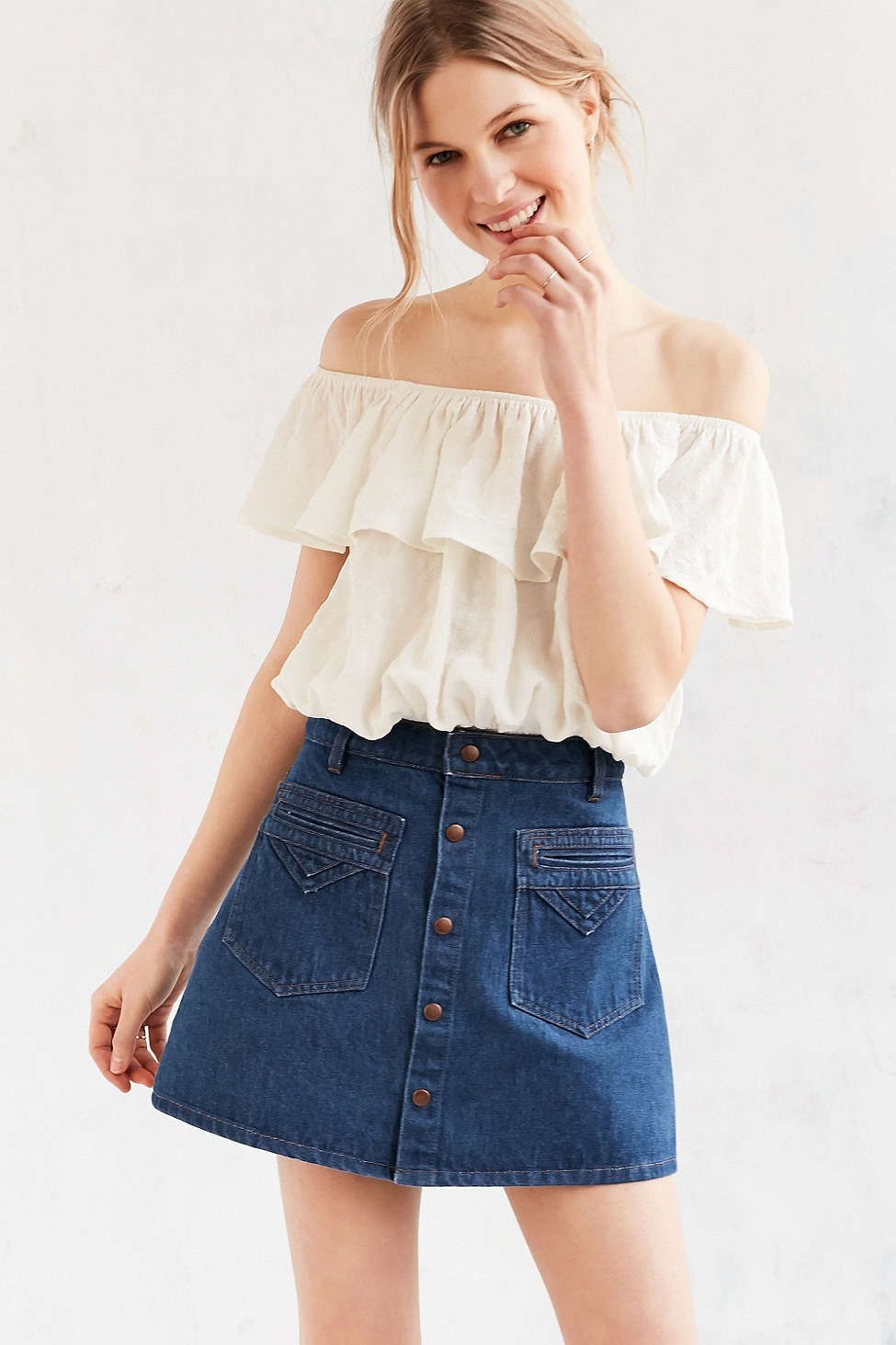 fe8113d39c Objects Without Meaning For UO Denim Button-Down Mini Skirt - Urban  Outfitters