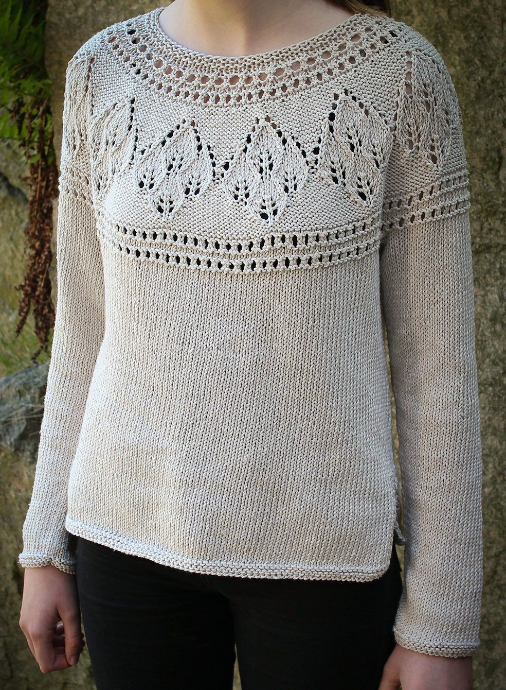 5136c8948b2e56 Knitting Pattern for Agnes Round Yoke Sweater - This long sleeved pullover  features leaf lace on the yoke. And it s seamless! Sizes S (M