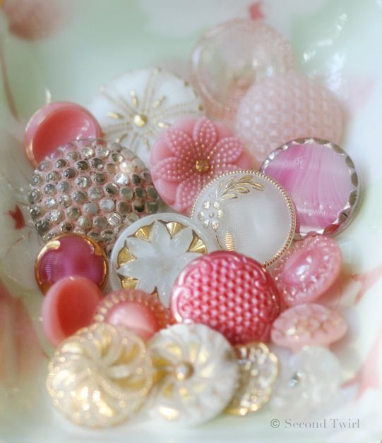 Sweet gathering of dainty pink, white and gold vintage glass buttons.