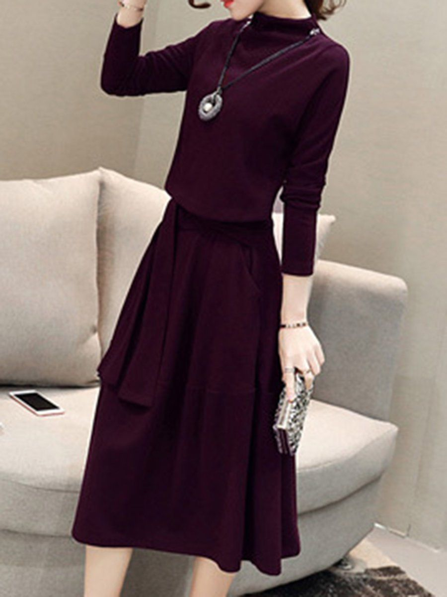 Long sleeve knitted aline midi dress midi dresses midi dresses