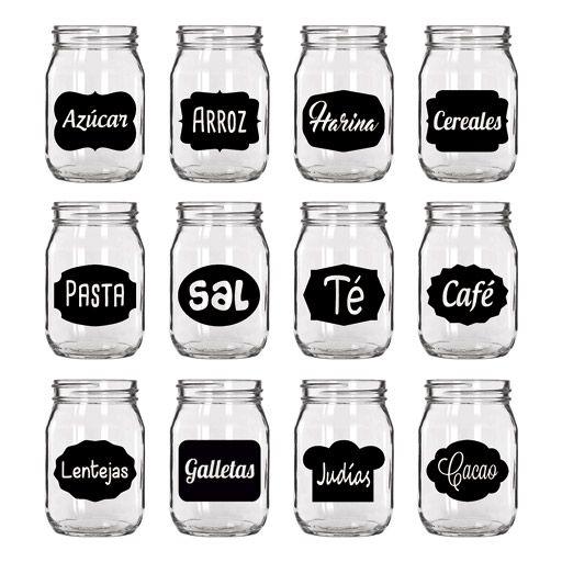 Pack de vinilos decorativos para frascos botes y tarros - Vinilo cocina cristal ...