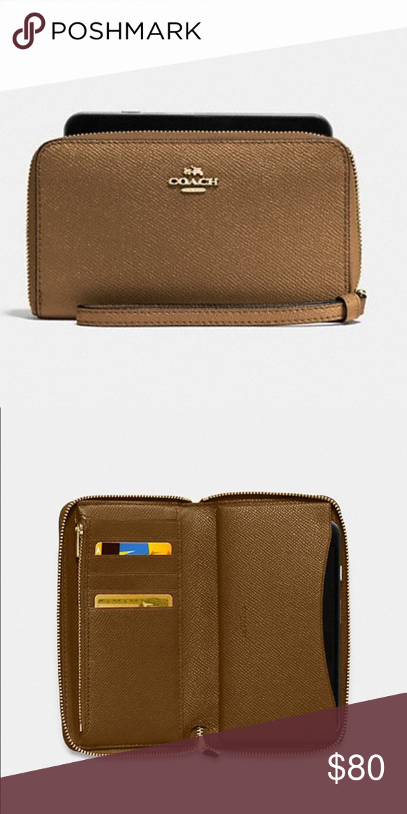4facbf9a NWT COACH phone wallet Crossgrain leather. /Six credit card slots ...