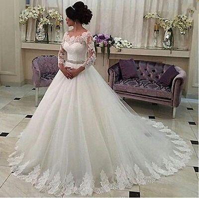 Noble Weiß/Elfenbein Hochzeitskleid Brautkleider Ballkleid Gr 34 36 38 40  42 44+