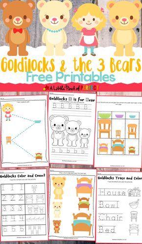 Goldilocks and the Three Bears Free Printables -